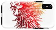 Vector Red Rooster Head Illustration IPhone X Tough Case
