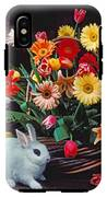 White Rabbit By Basket Of Flowers IPhone X Tough Case