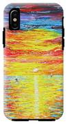Lighthouse Sunset Ocean View Palette Knife Original Painting IPhone X Tough Case