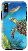 Sea Escape Iv - Hawksbill Turtle Flying Free IPhone X Tough Case