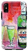 Absinthe Bottle And Glasses Watercolor By Ginette IPhone X Tough Case