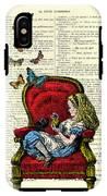 Alice In Wonderland Playing With Cute Cat And Butterflies IPhone X Tough Case