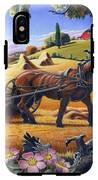 Raking Hay Field Rustic Country Farm Folk Art Landscape IPhone X Tough Case