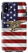 U.s. Navy Seals Trident Over U.s. Flag IPhone X Tough Case