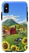 Sunflowers Cows Appalachian Farm Landscape - Rural Americana - Farm Animals - 1950 Farm Life - Barn IPhone X Tough Case