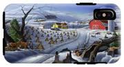 Folk Art Winter Landscape IPhone X Tough Case