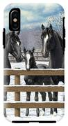 Black Quarter Horses In Snow IPhone X Tough Case