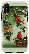 Cardinals And Holly - Version With Snow IPhone X Tough Case