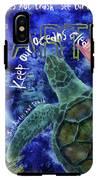 Clean Oceans Sea Turtle Art IPhone X Tough Case