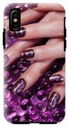 Closeup Of Woman Hands With Purple Nail Polish IPhone X Tough Case
