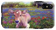 Contented Cow In Colorful Meadow IPhone X Tough Case