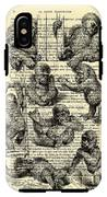 Baby Monkeys Playing Black And White Antique Illustration IPhone X Tough Case