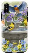 Fountain Festivities - Birds And Birdbath Painting IPhone X Tough Case