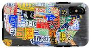 License Plate Map Of The Usa On Gray Distressed Wood Boards IPhone X Tough Case