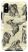 Monkeys Black And White Illustration IPhone X Tough Case