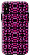 Pink Dots Pattern On Black IPhone X Tough Case