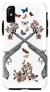 Pistols Wit Flowers And Butterflies IPhone X Tough Case