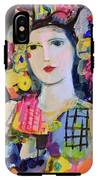 Portrait Of Woman With Flowers IPhone X Tough Case