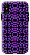 Purple Dots Pattern On Black IPhone X Tough Case