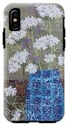 Queen Anne's Lace In Blue Vase IPhone X Tough Case