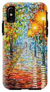 Rainy Autumn Evening In The Park Acrylic Palette Knife Painting IPhone X Tough Case