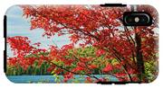 Red Maple On Lake Shore IPhone X Tough Case