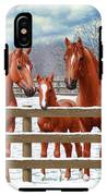 Red Sorrel Quarter Horses In Snow IPhone X Tough Case