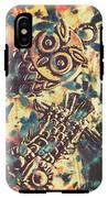 Retro Pop Art Owls Under Floating Feathers IPhone X Tough Case