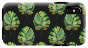 Tropical Leaves On Black- Art By Linda Woods IPhone X Tough Case