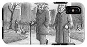 Two Older Men Walk With Canes Through A Park. IPhone X Tough Case