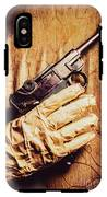 Undead Mummy  Holding Handgun Against Wooden Wall IPhone X Tough Case