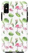 Watercolour Tropical Beauty Flamingo Family IPhone X Tough Case