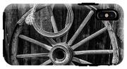 Western Rope And Wooden Wheel In Black And White IPhone X Tough Case