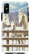 White Quarter Horses In Snow IPhone X Tough Case