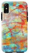 Work 00099 Abstraction In Cyan, Blue, Orange, Red IPhone X Tough Case