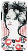 Woman Portrait .abstract Watercolor IPhone X Tough Case