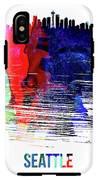 Seattle Skyline Brush Stroke Watercolor   IPhone X Tough Case