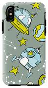 Space Print. Rocket, Flying Saucer IPhone X Tough Case