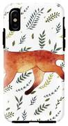 Watercolor Cute Running Fox With Green IPhone X Tough Case