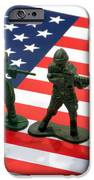Line Of Toy Soldiers On American Flag Crisp Depth Of Field IPhone Case by Amy Cicconi