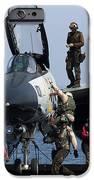 An F-14d Tomcat On The Flight Deck IPhone Case by Gert Kromhout