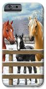 Chestnut Appaloosa Palomino Pinto Black Foal Horses In Snow IPhone 6s Case by Crista Forest