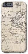 Old Hand Drawn Vintage World Map IPhone Case by Richard Thomas