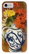 Geraniums And Other Flowers In A Stoneware Vase IPhone Case