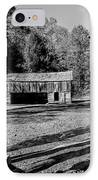Historical Cantilever Barn At Cades Cove Tennessee In Black And White IPhone Case by Kathy Clark