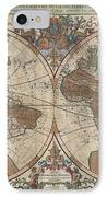 1691 Sanson Map Of The World On Hemisphere Projection IPhone Case
