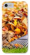 Fall Leaves With Rake IPhone Case by Elena Elisseeva