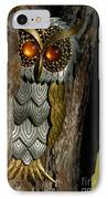 Faux Owl With Golden Eyes IPhone Case by Amy Cicconi