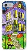 Flight Of The Moon Witch On Hallows Eve IPhone Case by Janet Immordino