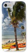 Kayaks On The Beach IPhone Case by Amy Cicconi